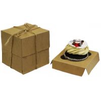 Коробка картонная для капкейка на 1шт. из бур/бел крафт картона. Размер 100*100*110 мм.