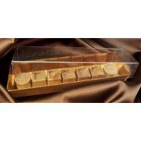 Упаковка для конфет с прозрачным верхом, 20*5*h3 см., золотая, поштучно