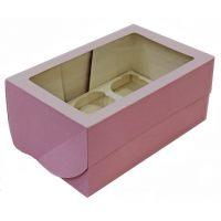 Упаковка с окном на 6 капкейков, розовая, поштучно
