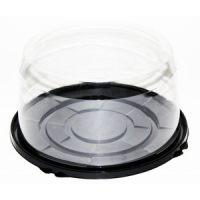 Пластиковая упаковка под торт от 1-4 кг., круглая, черное дно, прозрачная крышка, диаметр d - 22,5 см, высота – 12 см., 110 шт.
