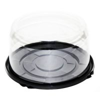 Пластиковая упаковка для торта от 1-5 кг., круглая, черное дно, прозрачная крышка, диаметр d – 23,5 см, высота – 12 см., 100 шт.