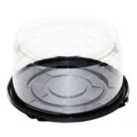 Пластиковая упаковка под торт от 1-3 кг., круглая, черное дно, прозрачная крышка, диаметр d – 19,5 см, высота – 10 см, 100 шт.