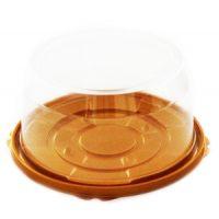 Пластиковая упаковка для торта от 1-3 кг., круглая, золотое дно, прозрачная крышка, диаметр d – 19,5 см, высота – 10 см., 100 шт.