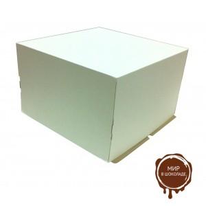 Гофрированная коробка для торта от 1 до 8 кг., 400*400*290 (Д 15-39 см.), бел/бур., 25 шт.