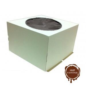 Гофрированная коробка для торта от 1-8 кг., с прозрачным окошком на крышке, 400*400*290 (Д 15-39 см.), бел/ бур., 25 шт.