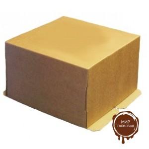 Гофрированная коробка для торта от 1 до 3 кг. из гофрокартона бур/бур, 300*300*190 (Д 15-29 см.), 25 шт.