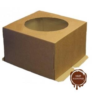 Гофрированная коробка для торта от 1 до 3 кг., c прозрачным окошком на крышке, 300*300*190, бур/бур (Д 15-29 см.), 25 шт.