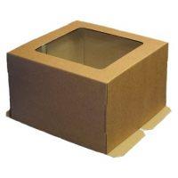 Гофрированная коробка для торта от 1 до 4 кг., c прозрачным окошком на крышке, 300*300*300 (Д 15-29 см.), бур/бур., 25 шт.