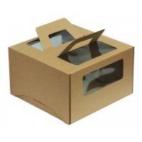 Гофрированная коробка для торта от 1 до 3 кг., c ручками и прозрачными окошками, 300*300*190 (Д 15-30 см.), бур/бур., 25 шт.