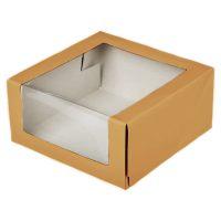 Коробка для торта весом от 0,5 до 2,5 кг., с прозрачным боковым и верхним окном изз бур/бел крафт картона. Размер 225*225*105, 25 шт.