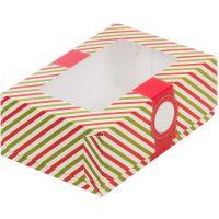 Упаковка для пирожных с окном - красная, 190*130*75 мм.