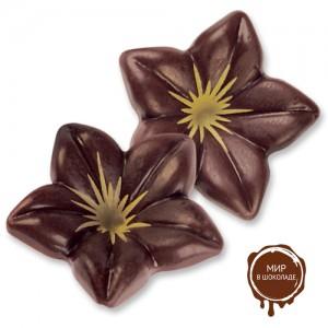 Цветы из темного шоколада с золотистой серединкой