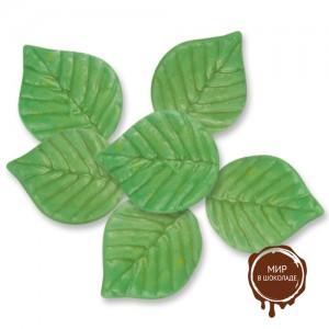Маленькие, зелёные листья из шоколада