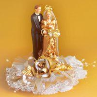 """Свадебная пара из фaрфора """"Золотая свадьба"""", с открывающимся основанием, 1 шт."""