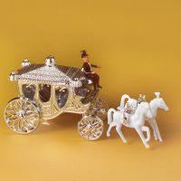 Свадебная декорация серебряная свадебная карета с кучером и белыми лошадками, 5 шт.