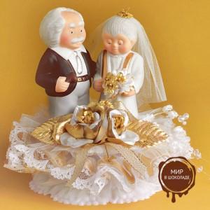 """Свадебная пара """"Золотая свадьба"""", с открывающимся основанием, 1 шт."""