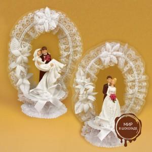 Свадебная пара с венком из тюли в двух вариантах, с открывающимся основанием, 2 шт.