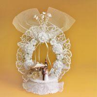 Очаровательная свадебная насадка на торт с венком из тюли, с открывающимся основанием, 2 шт.