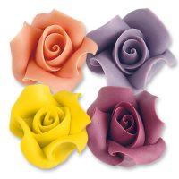 Фигурки марципановые розы, большие разноцветные