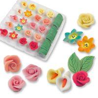 Фигурки марципановые, набор разноцветных цветов и листья