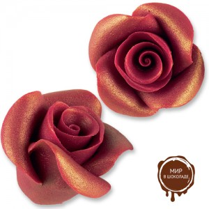 Фигурки марципановые античные розы, большие бордовые