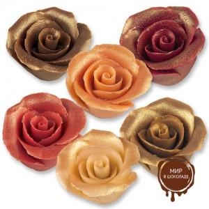 Фигурки марципановые античные розы, большие разноцветные