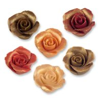 Фигурки марципановые античные розы, маленькие разноцветные