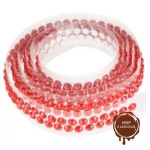 Декоративная лента с украшением в виде кристаллов, красная, длина - 90 см.