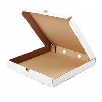 Гофрированная коробка 340*340*40 для пирога из 3-х слойного гофрокартона бел/бур (Д 30-34 см)