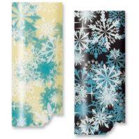Трафаретный лист-пленка снежинки бело-голубые
