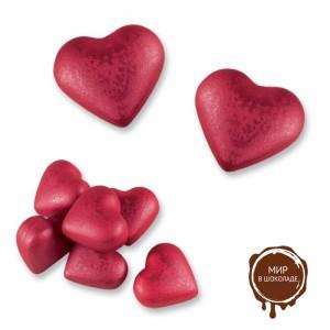 Сердца (бордовые), белый шоколад