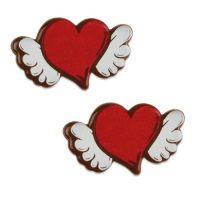 Шоколадный декор сердце с крылышками