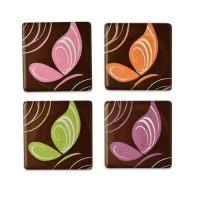 Шоколадный декор квадратики с рисунком бабочки