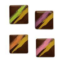 Шоколадный декор квадратики с цв. рисунком, маленькие