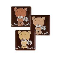 """Шоколадный декор квадратики """"Медвежонок"""""""