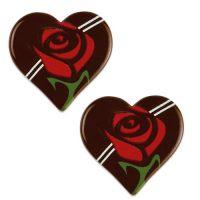 Шоколадный декор сердце с розой