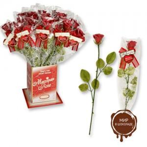 Фигурки марципановые роза с карточкой с надписью о любви, 20 штук