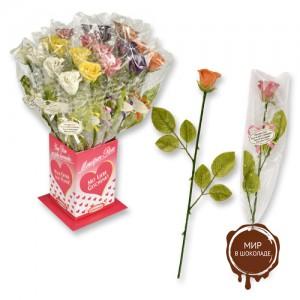 Фигурки марципановые розы, разноцветные, с карточкой, с надписью о любви, 20 штук