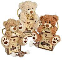 Плюшевые медвежата в сумочке с конфетами, 12 шт.