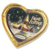 Золотые новогодние шоколадные сердечки, 40 шт.
