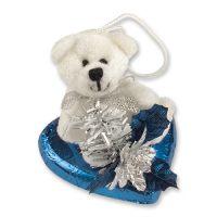 Плюшевый белый мишка на шоколадном сердечке, 16 шт.