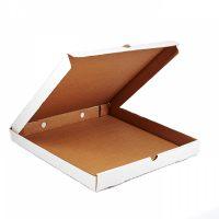 Гофрированная коробка 340*340*40 для пирога из микрогофрокартона бел/бур (Д 30-34 см)