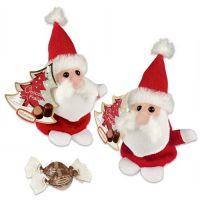 Плюшевый Дед Мороз с конфетами, 12 шт.