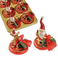 Фарфоровые Дед Мороз и лось на шоколадном диске, 16 шт.