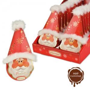 Шоколадный диск Дед Мороз с плюшевым декором, 20 шт.