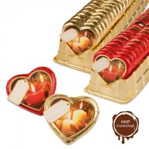"""Шоколадные сердца """"Новогодние свечи"""", 40 шт."""