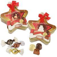 Новогодняя жестяная звезда с тремя видами конфет, 12 шт.