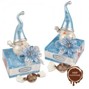 Фарфоровый снеговик на коробочке с конфетами, 12 шт.