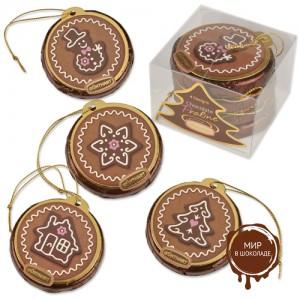 Набор из 4х новогодних шоколадных дисков, 12 шт.