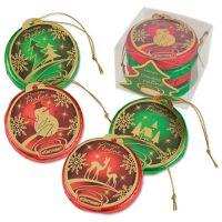 Набор из 4-х новогодних шоколадных дисков, 12 шт.